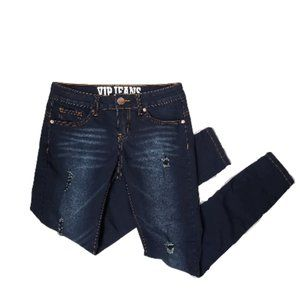 V.I.P. Distressed Skinny Jeans - Dark Wash